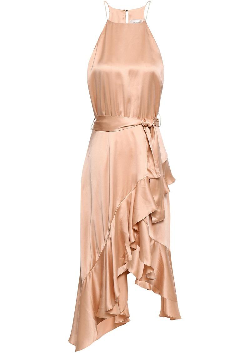 Zimmermann Woman Asymmetric Ruffled Silk-satin Dress Peach