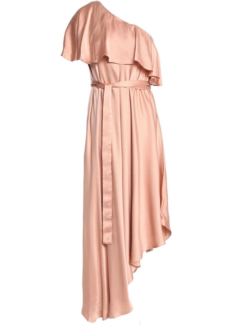 Zimmermann Woman One-shoulder Ruffled Silk Midi Dress Blush