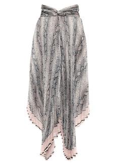Zimmermann Woman Corsage Pleat Asymmetric Snake-print Chiffon Midi Skirt Animal Print