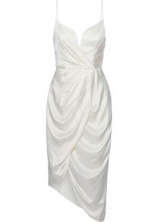 Zimmermann Woman Asymmetric Wrap-effect Washed-silk Dress Cream