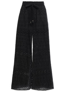 Zimmermann Woman Broderie Anglaise Cotton And Silk-blend Wide-leg Pants Black
