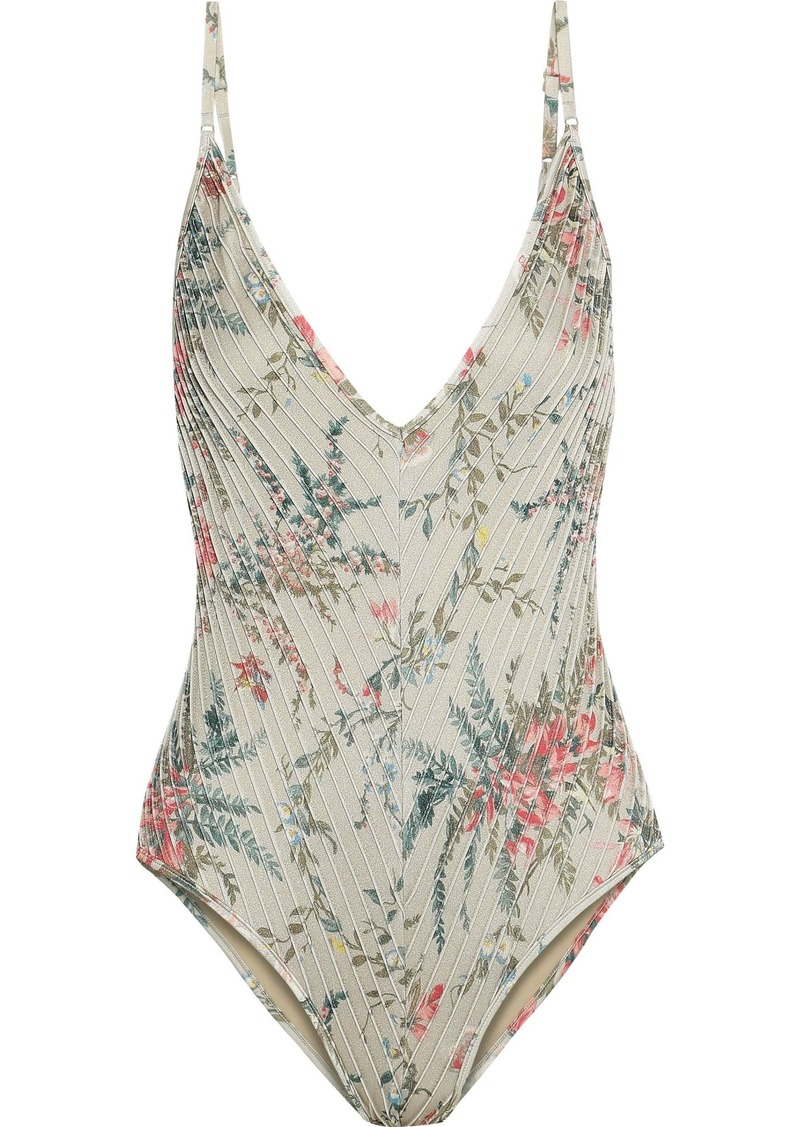 Zimmermann Woman Bayou Pintucked Floral-print Swimsuit Multicolor