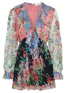 Zimmermann Woman Bellitude Ruffled Floral-print Silk-crepon Playsuit Multicolor