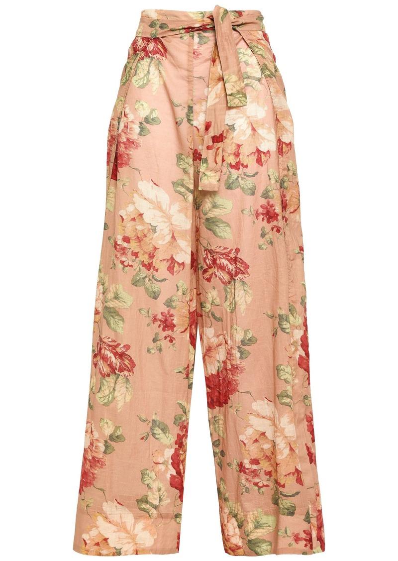 Zimmermann Woman Belted Floral-print Cotton Wide-leg Pants Antique Rose