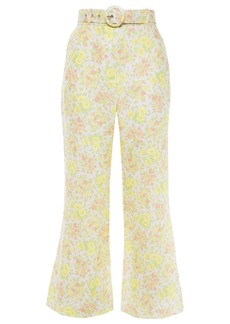 Zimmermann Woman Belted Floral-print Linen Flared Pants Yellow