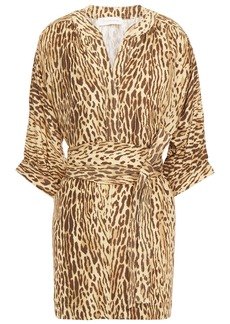 Zimmermann Woman Belted Leopard-print Silk Crepe De Chine Tunic Animal Print