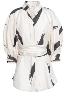 Zimmermann Woman Belted Printed Silk Shirt Cream