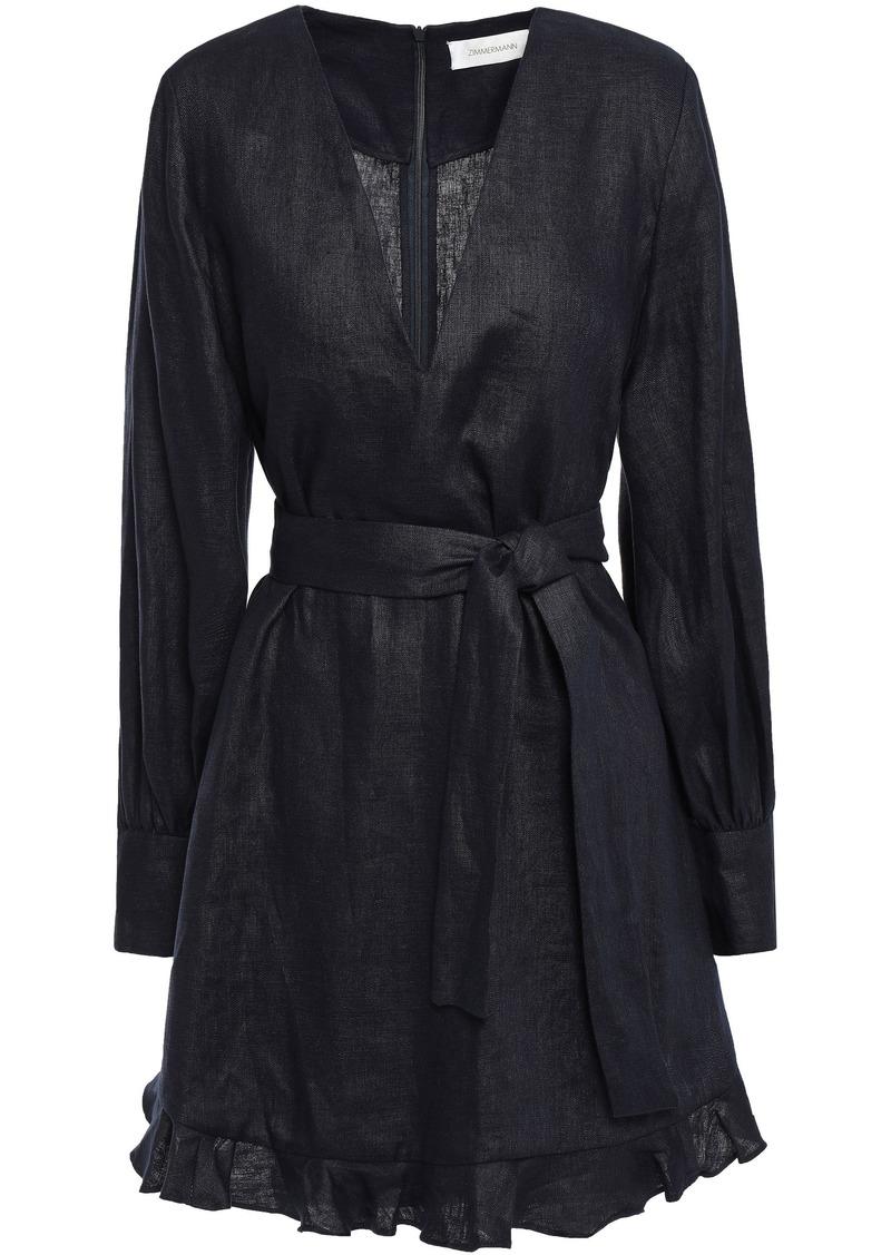Zimmermann Woman Belted Linen Mini Dress Navy