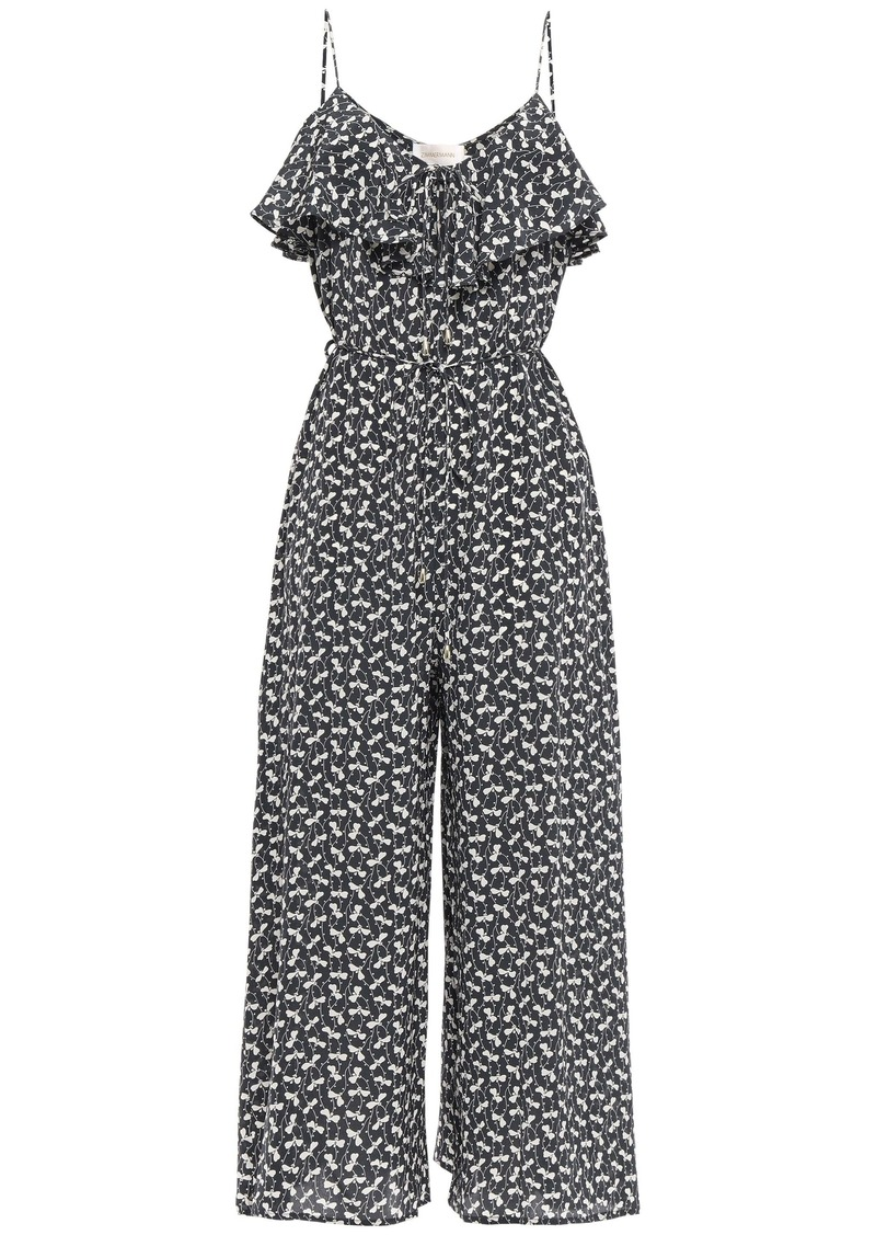 Zimmermann Woman Belted Ruffled Printed Silk-crepe Wide-leg Jumpsuit Charcoal
