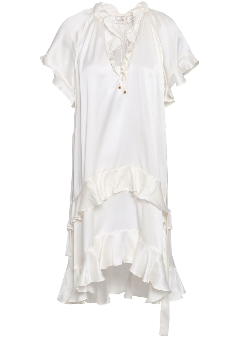 Zimmermann Woman Belted Ruffled Washed-silk Mini Dress Ivory