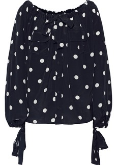 Zimmermann Woman Bow-detailed Gathered Silk Crepe De Chine Blouse Navy
