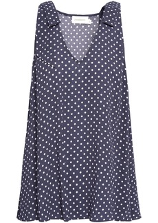 Zimmermann Woman Bow-detailed Polka-dot Crepe Top Anthracite