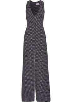 Zimmermann Woman Bow-embellished Printed Crepe Wide-leg Jumpsuit Dark Gray
