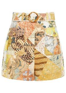 Zimmermann Woman Brightside Belted Printed Linen Shorts Mustard