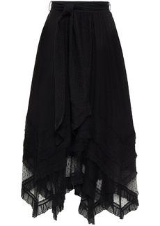 Zimmermann Woman Brightside Point D'esprit-trimmed Fil Coupé Silk And Cotton-blend Midi Skirt Black