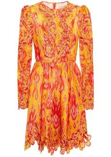 Zimmermann Woman Brightside Rouleaux Cutout Embroidered Printed Silk-organza Mini Dress Orange