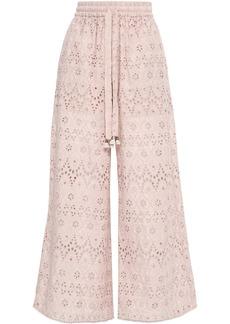 Zimmermann Woman Broderie Anglaise Cotton And Silk-blend Wide-leg Pants Blush