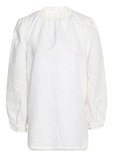 Zimmermann Woman Broderie Anglaise Linen And Cotton-blend Blouse White