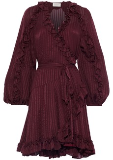 Zimmermann Woman Cascade Silk-jacquard Mini Wrap Dress Plum