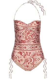 Zimmermann Woman Castile Ruched Printed Halterneck Swimsuit Antique Rose