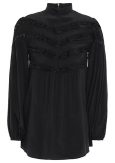 Zimmermann Woman Chevron Lace Gathered Silk Crepe De Chine Blouse Black