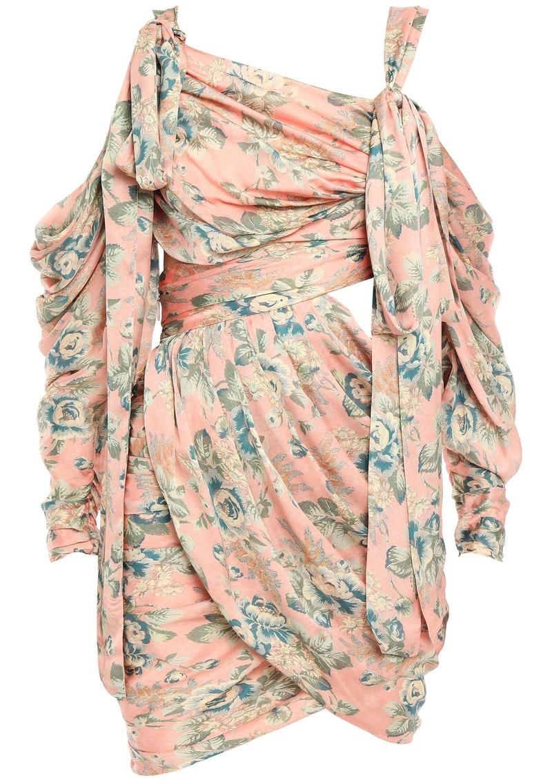 Zimmermann Woman Cold-shoulder Cutout Draped Floral-print Washed-silk Mini Dress Peach
