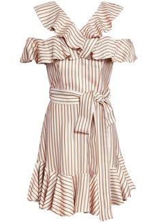 Zimmermann Woman Belted Ruffled Polka-dot Twill Mini Dress Blush