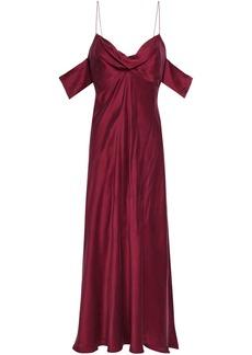 Zimmermann Woman Cold-shoulder Washed-silk Midi Dress Burgundy