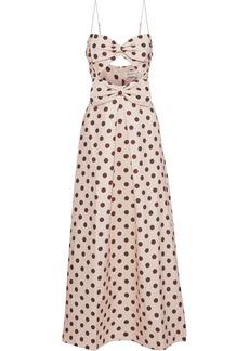 Zimmermann Woman Corsage Bow Cutout Polka-dot Linen Maxi Dress Blush
