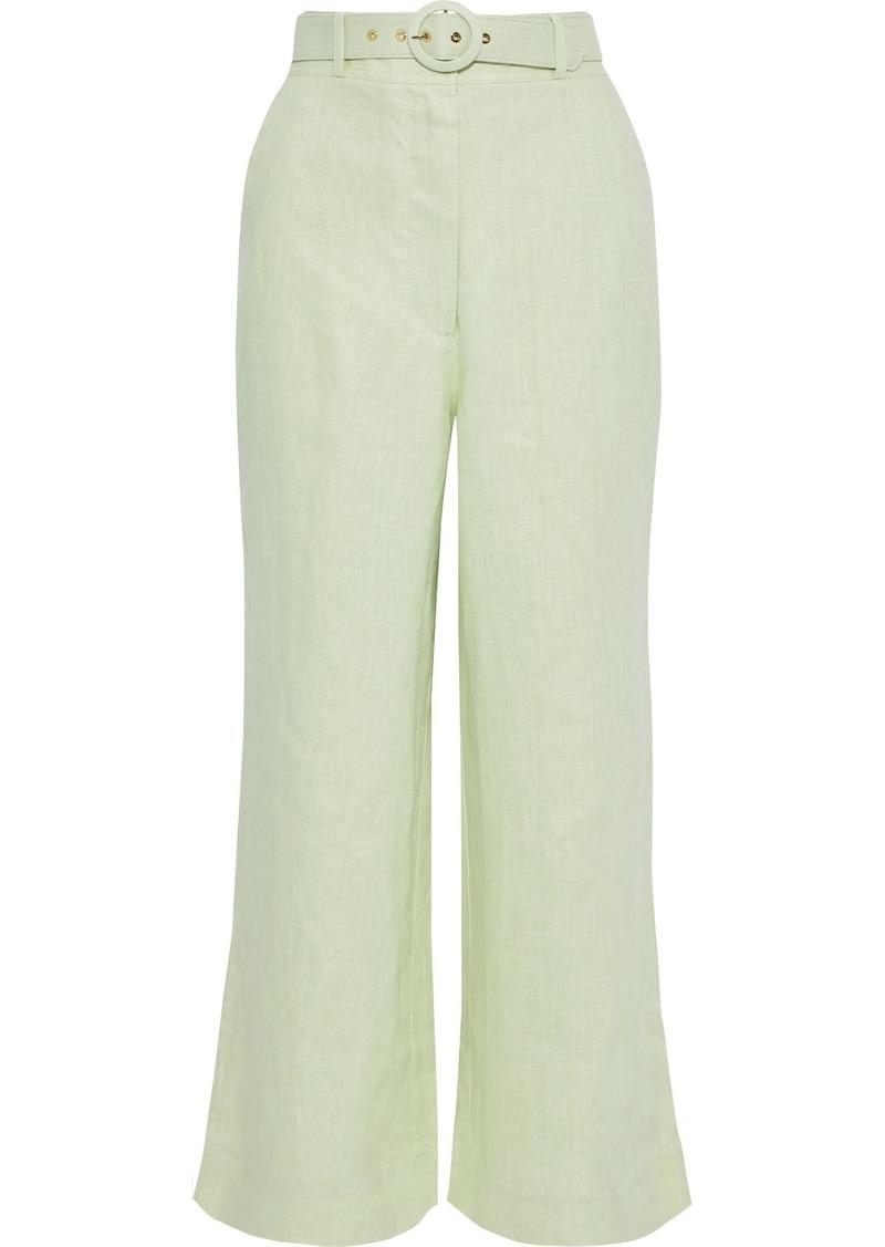 Zimmermann Woman Corsage Crop Belted Linen Wide-leg Pants Light Green