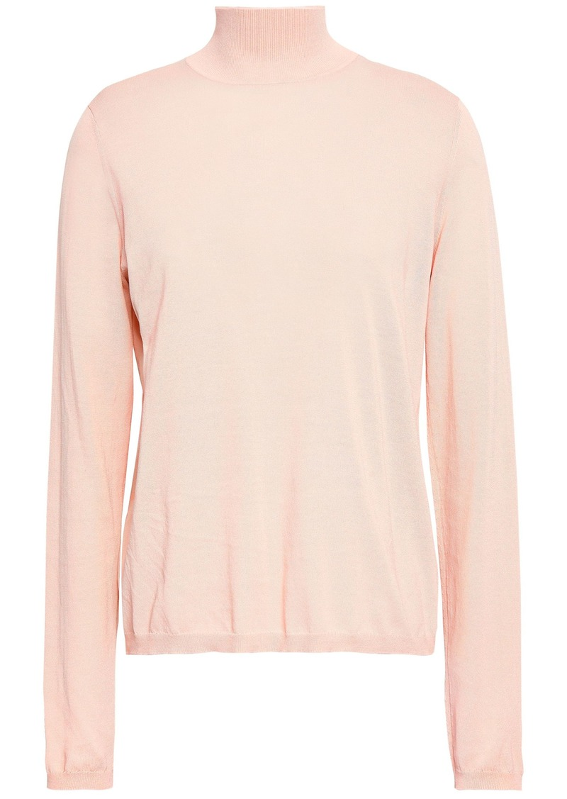 Zimmermann Woman Cotton-blend Turtleneck Sweater Blush