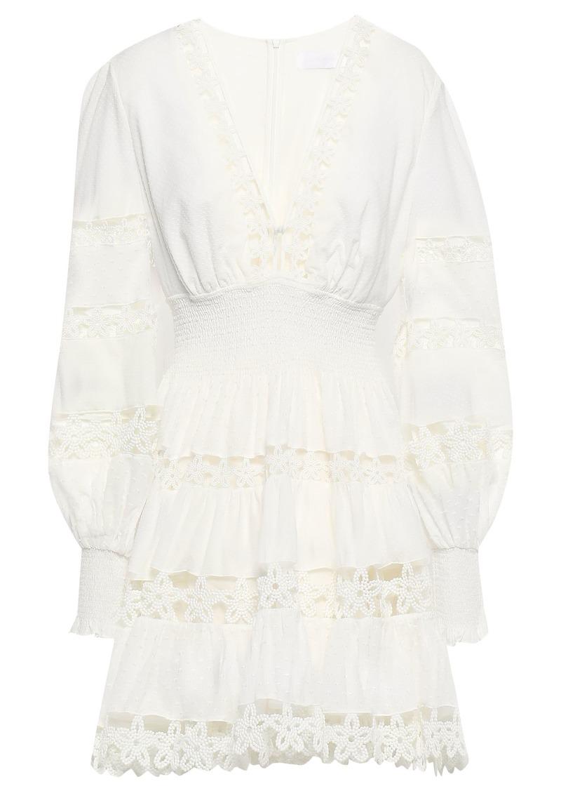Zimmermann Woman Crochet-paneled Swiss-dot Cotton Mini Dress Ivory