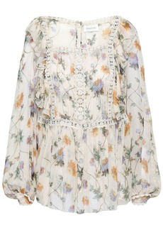 Zimmermann Woman Crochet-trimmed Floral-print Silk-georgette Blouse Ivory