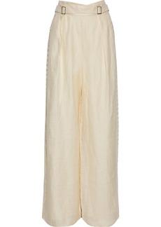 Zimmermann Woman Crochet-trimmed Silk And Linen-blend Wide-leg Pants Neutral