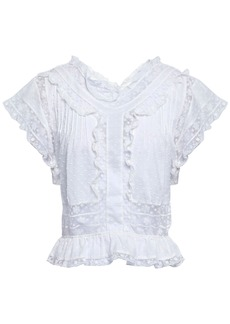 Zimmermann Woman Crochet-trimmed Swiss-dot Cotton Top Ivory