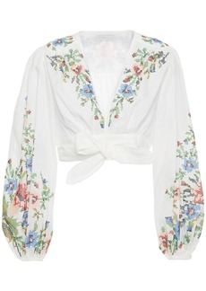 Zimmermann Woman Juliette Cropped Embroidered Linen Wrap Top White