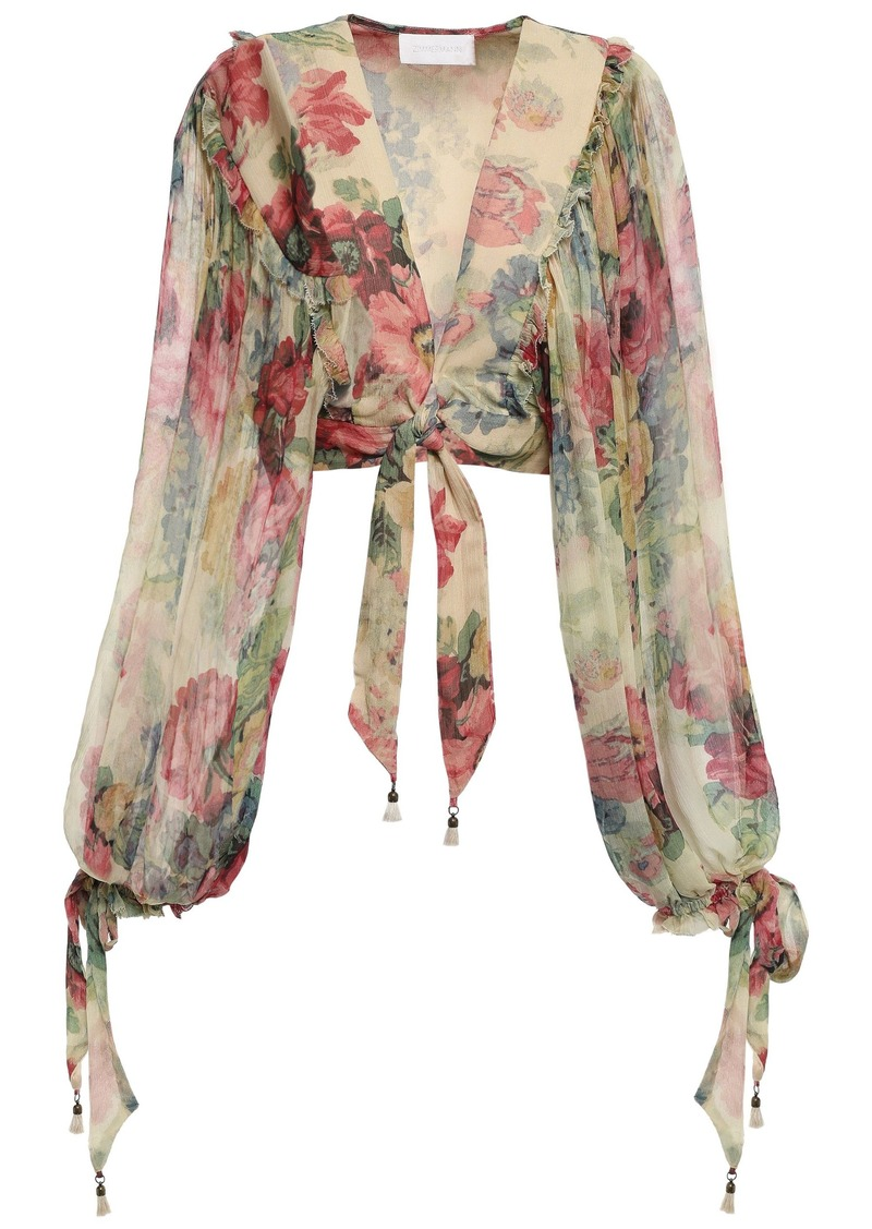 Zimmermann Woman Cropped Floral-print Silk-georgette Top Pastel Yellow