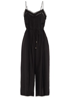 Zimmermann Woman Cropped Lace-trimmed Pintucked Silk-crepe Jumpsuit Black