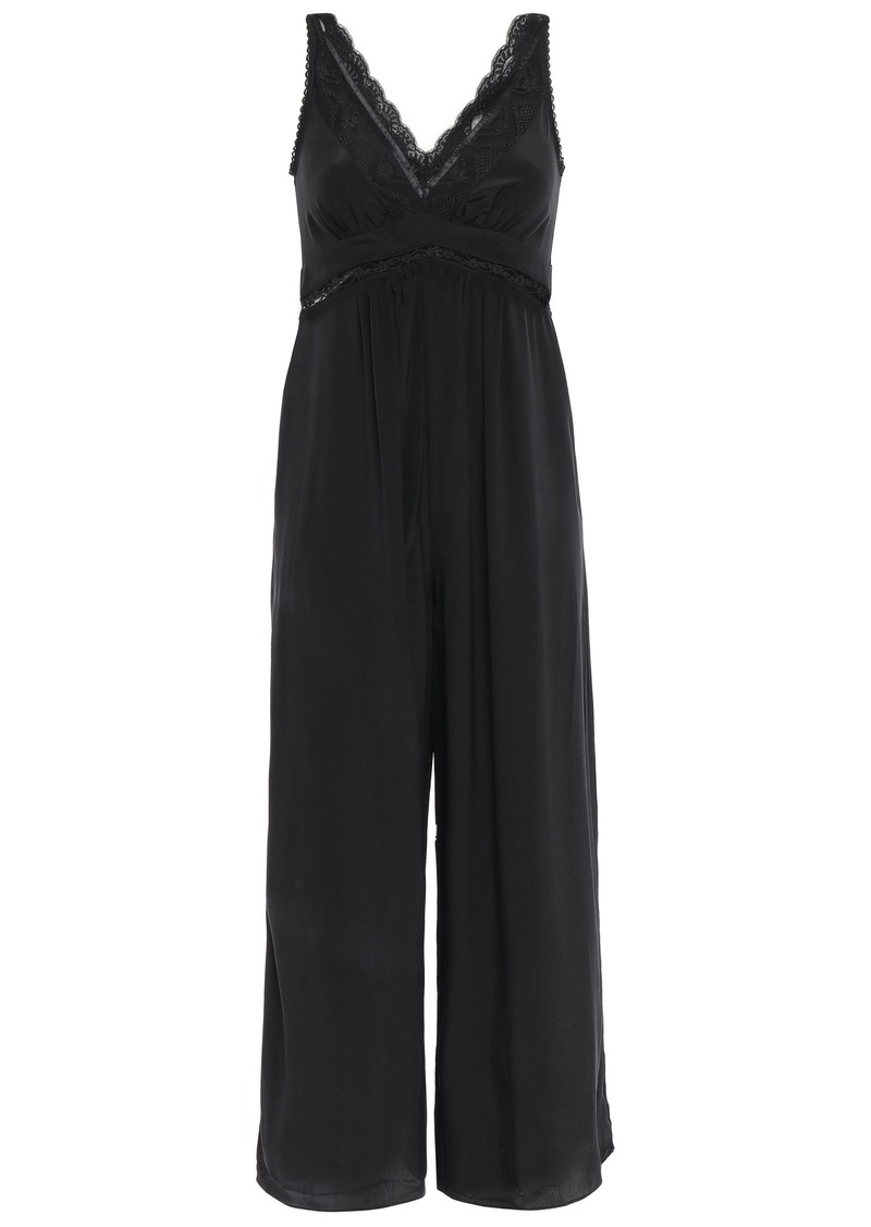 Zimmermann Woman Cropped Lace-trimmed Washed-silk Wide-leg Jumpsuit Black