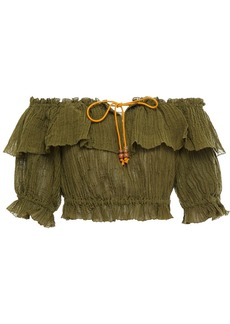 Zimmermann Woman Empire Crop Off-the-shoulder Crinkled Ramie And Cotton-blend Top Army Green