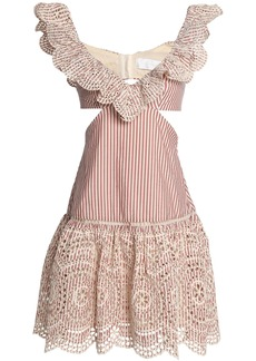 Zimmermann Woman Cutout Broderie Anglaise Striped Cotton Mini Dress Antique Rose