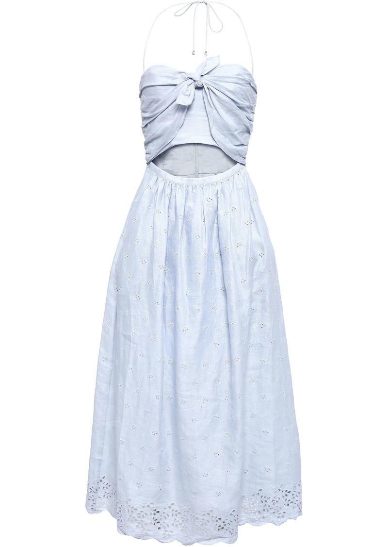 Zimmermann Woman Cutout Floral-print Broderie Anglaise Linen Midi Dress Sky Blue