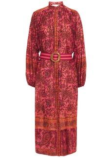 Zimmermann Woman Edie Batwing Belted Floral-print Cotton-voile Midi Dress Papaya