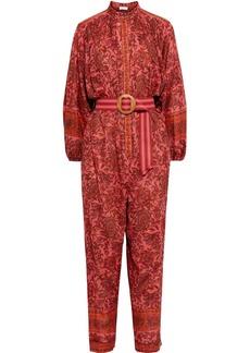 Zimmermann Woman Edie Belted Printed Cotton-voile Jumpsuit Papaya