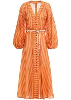 Zimmermann Woman Edie Belted Striped Cotton-voile Midi Dress Orange