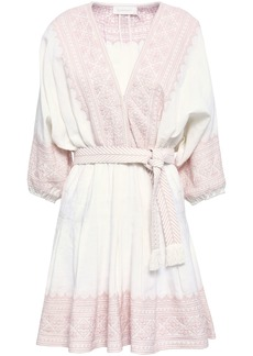 Zimmermann Woman Embroidered Cotton And Linen-blend Mini Dress Ivory
