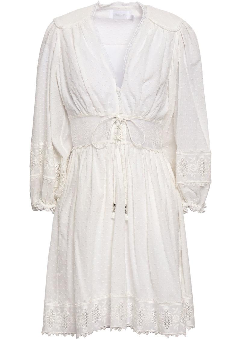 Zimmermann Woman Embroidered Fil Coupé Cotton Mini Dress Ivory