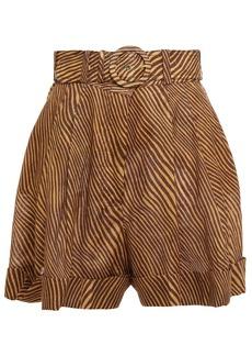 Zimmermann Woman Empire Belted Zebra-print Linen Shorts Camel