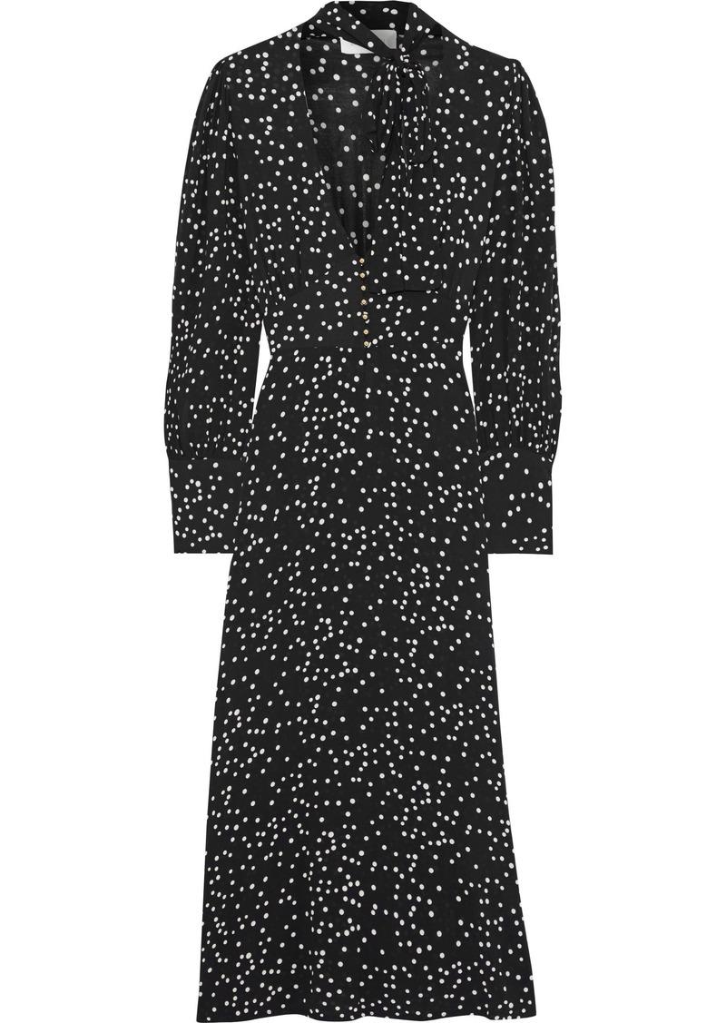 Zimmermann Woman Empire Pussy-bow Polka-dot Crepe Midi Dress Black