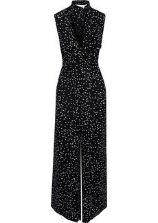 Zimmermann Woman Empire Pussy-bow Polka-dot Crepe Wide-leg Jumpsuit Black